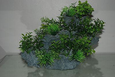 Aquarium Large Detailed Rock with Various Plants Decoration 29 x 10 x 25 cms 2