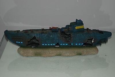 Aquarium Large Stunning Sunken Submarine On Rocks Ornament Size 43 x 9 x 14 cms 8