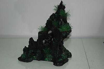 Aquarium Large Detailed Dark Rock and Plant Decoration 27 x 14 x 30 cms 5