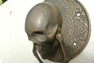 "SKULL handle KNOCKER PULL solid BRASS aged old style DOOR amazing 5"" B 3"