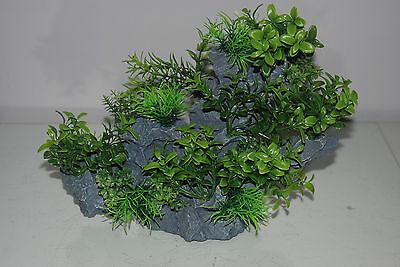 Aquarium Large Detailed Rock with Various Plants Decoration 29 x 10 x 25 cms 10
