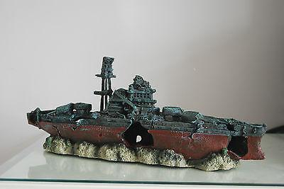 Aquarium Large Battle Ship Destroyer & Rock Base For Aquariums 46 x 11 x 17 cms 4
