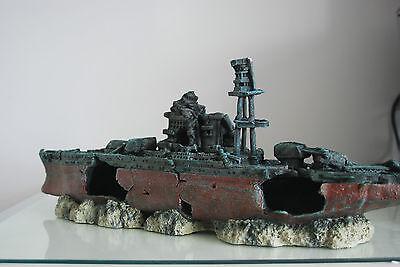 Aquarium Large Battle Ship Destroyer & Rock Base For Aquariums 46 x 11 x 17 cms 8