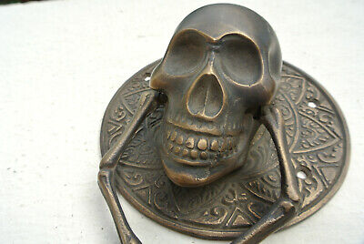 "SKULL handle KNOCKER PULL solid BRASS aged old style DOOR amazing 5"" B 5"