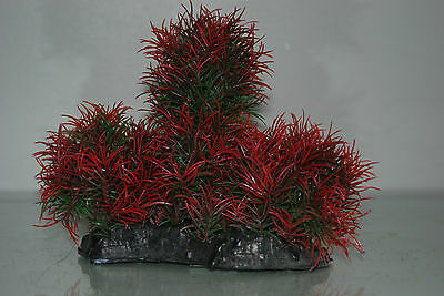 Aquarium Large Red & Green Bush Plant 17 x 7 x 16 cms For All Aquariums 2