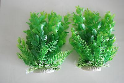 Aquarium 2 x Green Plastic Plants Approx 16cm High Suitable for All Aquariums 3