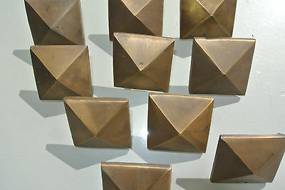 "10 Door studs decoration square  corner vintage solid brass heavy  2"" B 2"