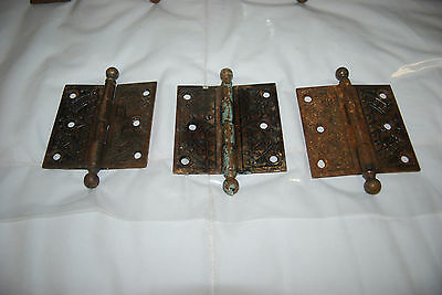 "Antique Cast Iron Assorted Size Hinges & 3.5"" Brass Hinges 7"