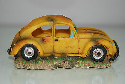 VW Yellow Beetle Small Old Rustic Car Decoration 14.5 x 6x6.5 For All Aquariums 5