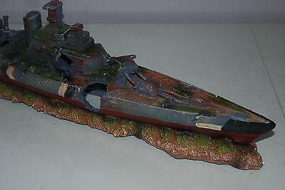Aquarium Large Battle Ship Destroyer & Rock Base For Aquariums 50 x 9 x 15 cms 3
