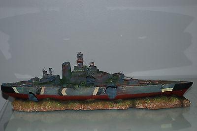 Aquarium Large Battle Ship Destroyer & Rock Base For Aquariums 50 x 9 x 15 cms 10