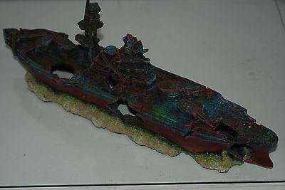 Aquarium Large Battle Ship Destroyer & Rock Base For Aquariums 46 x 10 x 17 cms 6