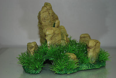 Aquarium Realistic  Large Rock Formation  with Grass Theme 24 x 20 x 18 cms 4