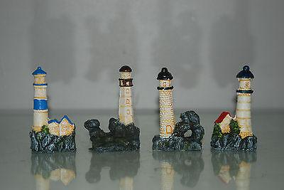 Aquarium 4 x Lighthouse Set Approx size 5 x 3 x 9 cms Boat Harbour Sea House 6