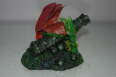 Aquarium Old Rustic Canon on Rock Base with Plants 14 x 9 x 9 cms 5
