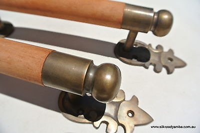 """pair DOOR handle pull solid brass ends wooden old vintage asian style 13"""" raw B 3"""