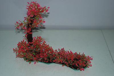 Aquarium Realistic Plastic Plant 7 x 25 x 23 cms On Flat Base Red & Green Plant 6