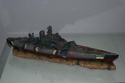 Aquarium Large Battle Ship Destroyer & Rock Base For Aquariums 50 x 9 x 15 cms 6