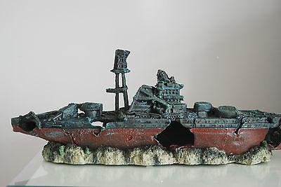 Aquarium Large Battle Ship Destroyer & Rock Base For Aquariums 46 x 11 x 17 cms 3
