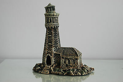 Aquarium Old Stone Effect Lighthouse 18 x 11 x 20 cms Ship Sea Boats Harbour 4