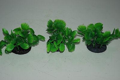 Aquarium 3 x Small Green Bush Plant 5x4x7 cms Ideal For The Front Of Aquarium 3