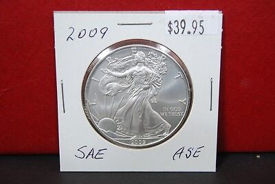 2009 Silver American Eagle BU 1 oz Coin US $1 Dollar Uncirculated from PCGS Tube 5