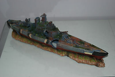 Aquarium Large Battle Ship Destroyer & Rock Base For Aquariums 50 x 9 x 15 cms