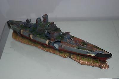 Aquarium Large Battle Ship Destroyer & Rock Base For Aquariums 50 x 9 x 15 cms 8