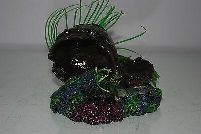 Aquarium Broken Sunken Pots Sword on Rock Base with Plants 15 x 11 x 12 cms 5