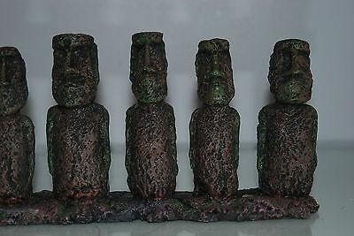 Aquarium & Vivarium Large Line Of Easter Island Heads Decoration 31 x 7 x 14cms 5