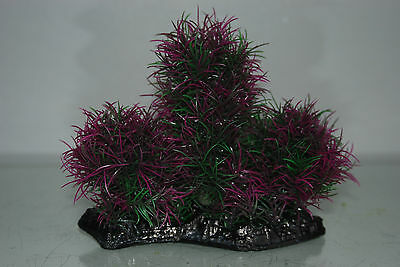 Aquarium Large Purple & Green Bush Plant 17 x 7 x 16 cms For All Aquariums 2