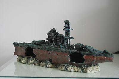 Aquarium Large Battle Ship Destroyer & Rock Base For Aquariums 46 x 11 x 17 cms 5