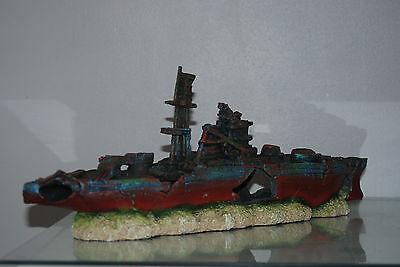 Aquarium Large Battle Ship Destroyer & Rock Base For Aquariums 46 x 10 x 17 cms 2