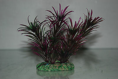 Aquarium Plant Green & Purple Plant with Weighted Base 13 cms 3