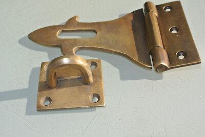 small box catch hasp latch old style BOX antiques DOOR heavy  staple 12cm B 7