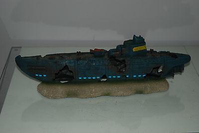 Aquarium Large Stunning Sunken Submarine On Rocks Ornament Size 43 x 9 x 14 cms 4