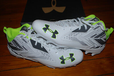 NEW Men's Under Armour Ripshot Mid MC Lacrosse Cleats (11.5) White/Charcoal