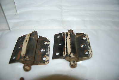 "Antique Cast Iron Assorted Size Hinges & 3.5"" Brass Hinges 4"