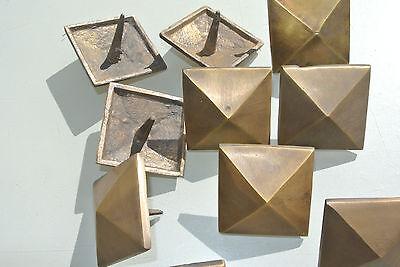 "10 Door studs decoration square  corner vintage solid brass heavy  2"" B 7"