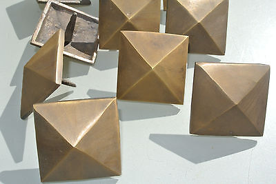 "10 Door studs decoration square  corner vintage solid brass heavy  2"" B 8"
