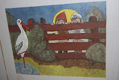 Lit bébé vintage années 50. ( Peinture d'enfants et animaux burlesques ) 11