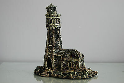 Aquarium Old Stone Effect Lighthouse 18 x 11 x 20 cms Ship Sea Boats Harbour