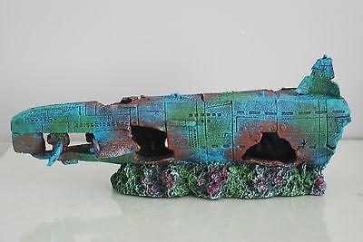 Aquarium Large Stunning Sunken Submarine Two Part Ornament  size 75 x 9 x 15 cms 9