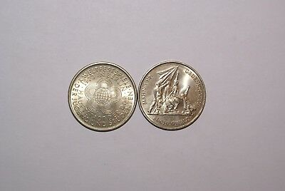 2 UNCIRCULATED 10 MARK COINS from EAST GERMANY - 1972 & 1973 (2 TYPES)