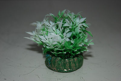 Aquarium Small Nano Plants x 2 Green & White approx 4 cms 2