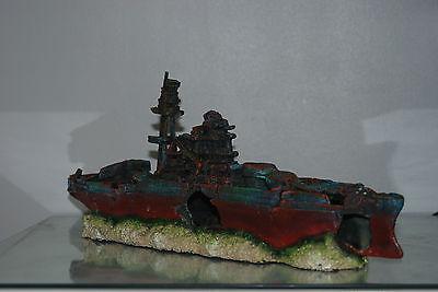 Aquarium Large Battle Ship Destroyer & Rock Base For Aquariums 46 x 10 x 17 cms 3