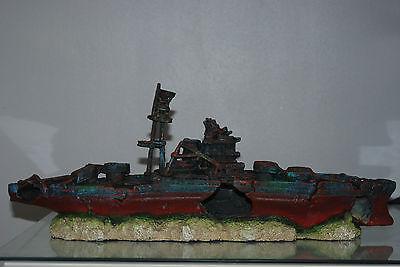 Aquarium Large Battle Ship Destroyer & Rock Base For Aquariums 46 x 10 x 17 cms 7