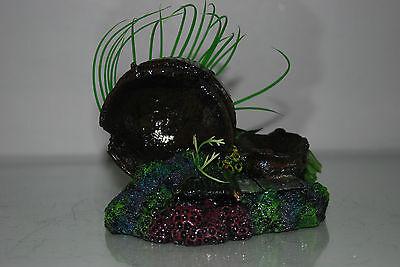 Aquarium Broken Sunken Pots Sword on Rock Base with Plants 15 x 11 x 12 cms 6
