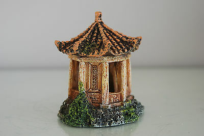 Aquarium Detailed Asian Temple 8  x 7 x 9 cms Rusty Suitable For All Aquariums 3