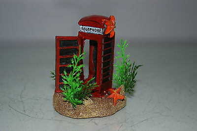 Aquarium Small Old London Telephone Box & Plants 7 x 5 x 8 cms For All Aquariums 5